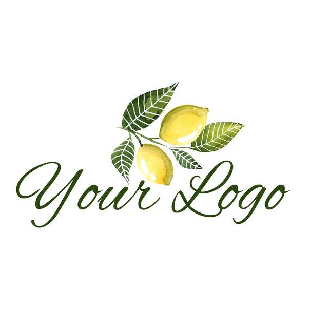 Логотип веточка с лимонами акварель